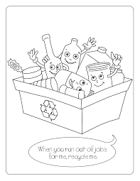 Recycling Coloring Page For Kids Free