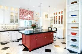 red and white kitchen view in gallery kitchen island in black and red steals the show here red white and blue kitchen curtains