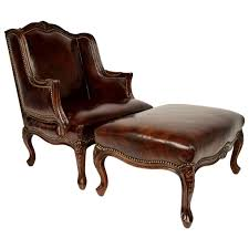 Vintage Louis Xv Style Wingback Leather Chair And Ottoman For Sale