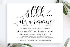 Surprise Party Invitation Template Shhh Its A Surprise