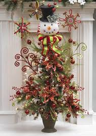 snowman head w black top hat christmas tree topper decoration