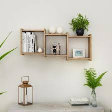 bauhaus weathered oak mdf wood 3 cube floating wall shelf
