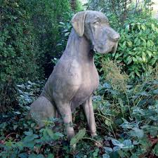 dog garden statue. Male Great Dane Dog Stone Sculpture - Large Garden Statue