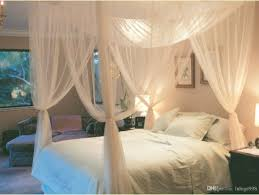 White 4 Corner Post Bed Canopy Mosquito Net Full Queen King Size ...