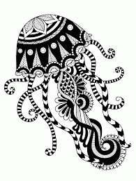 Hand Drawn Jellyfish Zentangle Style For
