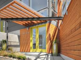 modern front door orange. Yellow Trimmed Glass Doors Help The Wood From Feeling Overwhelming At Entry Of This Contemporary Modern Front Door Orange Y