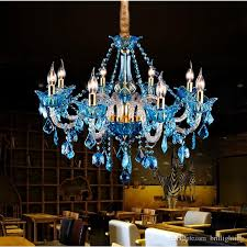 led crystal chandelier modern water blue crystal chandelier lamp dining room light glass arm wedding luxury living room kitchen pendant lamp chandelier with