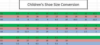 Children S Conversion Size Chart Childrens Shoe Sizing Conversion Chart Encore Equestrian