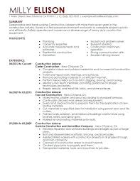 Construction Resume Samples Construction Resume Template ...