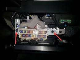 fitting under seat sub woofer to qq nissan qashqai owner club you need to get access behind the fuse box to see the main wiring loom my idea was to push the 12v cable through the side of the grommet here i