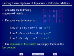 table of contents solving linear systems of equations calculator methods consider the following augmented matrix