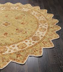 rugsville border star round wool tufted green ivory persian rug 244x244