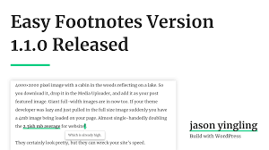 Easy Footnotes Version 110 Released Jason Yingling