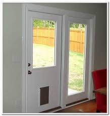 image of dog door sliding door insert diy