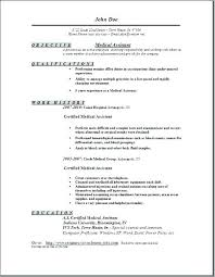 Free Medical Assistant Resume Template Simple Medical Resume Templates Certified Medical Assistant Resume Medical