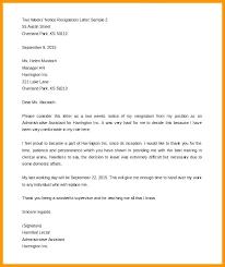 One Week Notice Resignation Letter One Week Notice Of Resignation Letter Template Day Sample