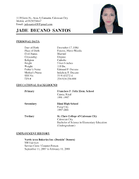 Examples Of Simple Resumes Simple Resume Sample Resume Simple Examples Resume For Study 15