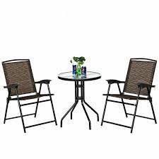 costway 3 piece outdoor bistro set