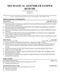 Mechanical Assembler Cover Letter Mechanical Assembler Resumes Adorable Assembler Resume