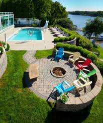 wood patio with pool. Overhead View Of A Dog And Wood-burning Round Fire Pit In The Centre Wood Patio With Pool P
