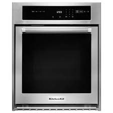 kitchenaid 24 in single electric wall oven self cleaning with convection in stainless steel