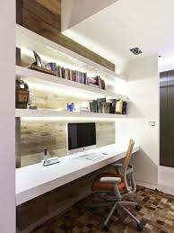 office wall desk. Private Office In Home With Small Space Long Desk And Personal Computer Wall Book Storage Image W