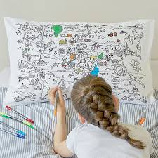 Design Your Own Pillowcase Amazing Color Your Own Map Pillowcase Coloring For Kids UncommonGoods