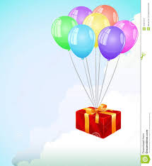 red gift box fly in the clouds at color balloon