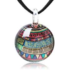 hand blown glass jewelry colorful glittery tribal art round pendant necklace 17 19 inches