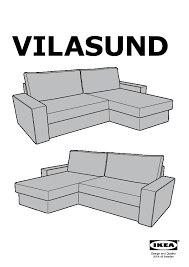 vilasund cover for sofa bed with chaise