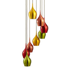 vibrant 8 light multi drop multi coloured metal pendant light with white inside and braided flex 6468 8