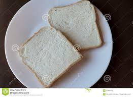 2 Slices Of White Bread On A White Plate Stock Photo Image Of Loaf