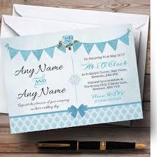 Light Blue Wedding Invitations Vintage Rustic Style Bunting Powder Baby Blue Customised Wedding Invitations
