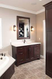 Decorating Ideas, : Simple Yet Stunning Wood Master Bath Cabinet Decoration  Photos, White Ceramic Countertops And Rectangular Mirror With Wood Frame