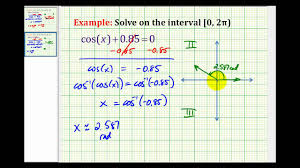 ex solve cos x a using a calculator negative a
