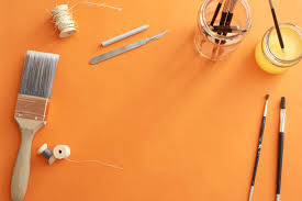 craft supplies background hd. Simple Supplies High Angle Still Life Of Various Art Supplies And Paintbrushes Scattered On  Orange Surface With Copy In Craft Background Hd 9