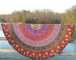 1 x ethos collections indian mandala round roun picnic throw tapestry hippy boho gypsy cotton tablecloth