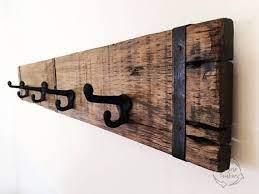 industrial wooden wall coat rack