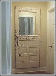 exterior door made into a hall mirror once your door is dry brush on a coat of polyurethane to keep any paint from chipping off to make dusting easier