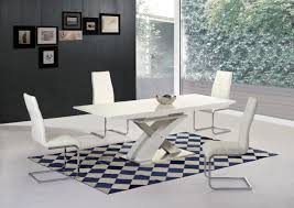 mayfair xo white high gloss big extending dining table and 6 arora high back white leather