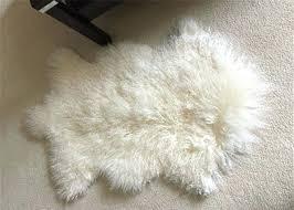 sheepskin rug genuine wool throw snow white area floor real pelt mongolian fur sheep
