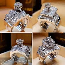 <b>Boho Female Crystal Zircon</b> Wedding Ring Set Fashion 925 Silver ...