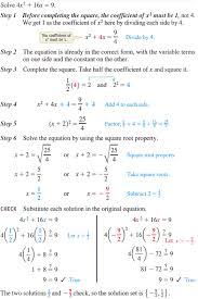 solving a quadratic equation by completing the square a 1