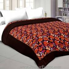 Jaipuri Double Bed Quilts, King Size Quilt, Double Bed Blanket & Dark Brown With Dori Floral Print Double Bed Quilt Adamdwight.com