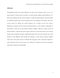 research paper on family and social influence on career decision maki 3