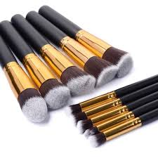 10 pcs silver golden makeup brushes cosmetic set