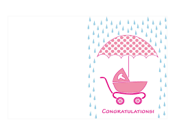 Pink Colored Printable Baby Shower Card Umbrella And Cart Polkadot Baby Shower Cards To Print