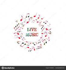 music notes in words colorful words live music notes white background stock