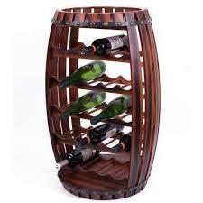 large wooden barrel shaped 23 bottle brown cherry wine rack