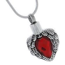 ruby angel heart pendant for ashes